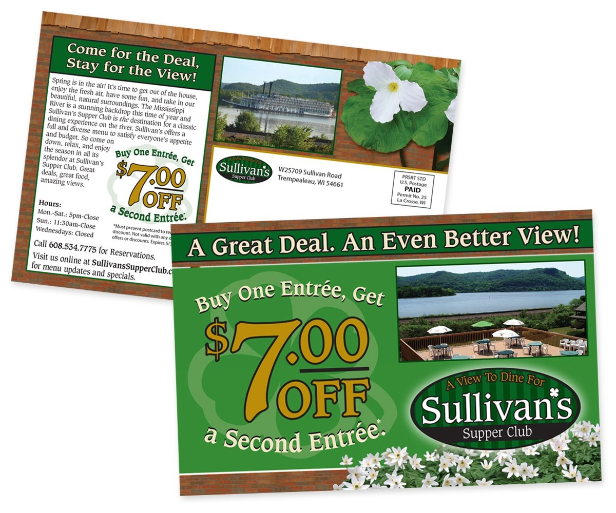 The BLÜ Group Client: Sullivan's Supper Club - Buy One Entree, Get One $7 Off - Direct Mail