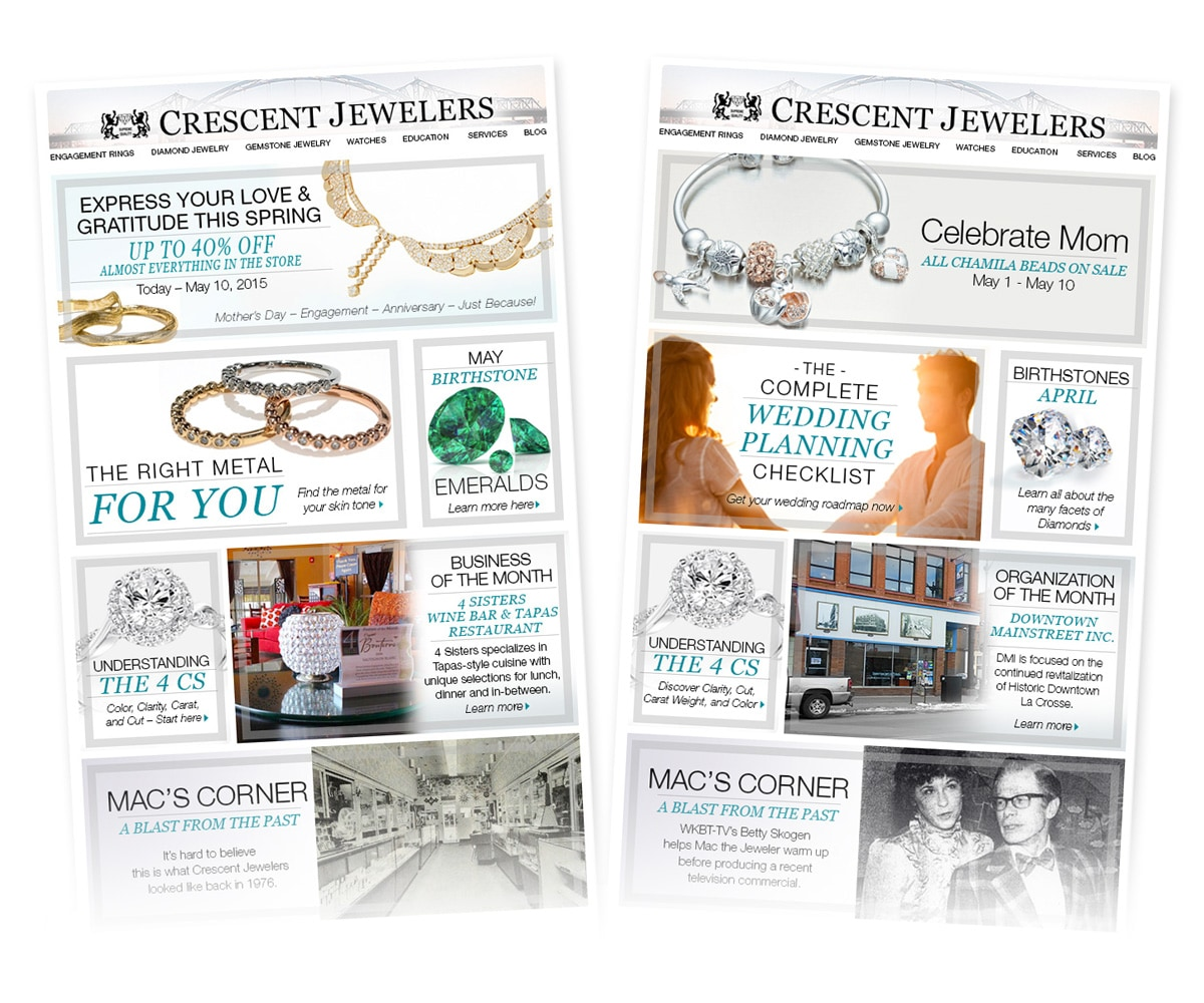 The BLÜ Group Client: Crescent Jewelers - E-newsletter