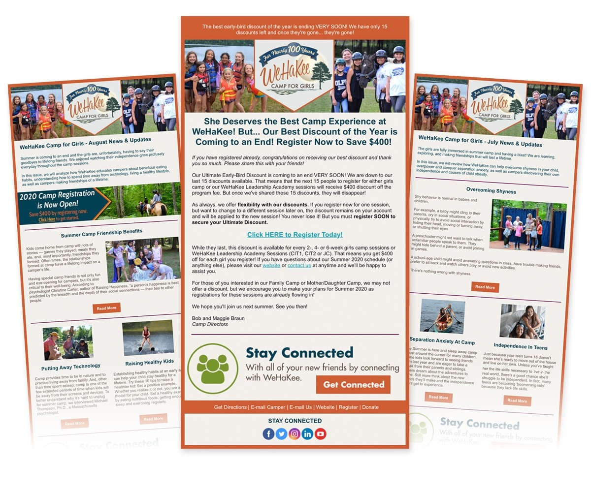 The BLÜ Group Client: WeHaKee Camp for Girls - E-Newsletters