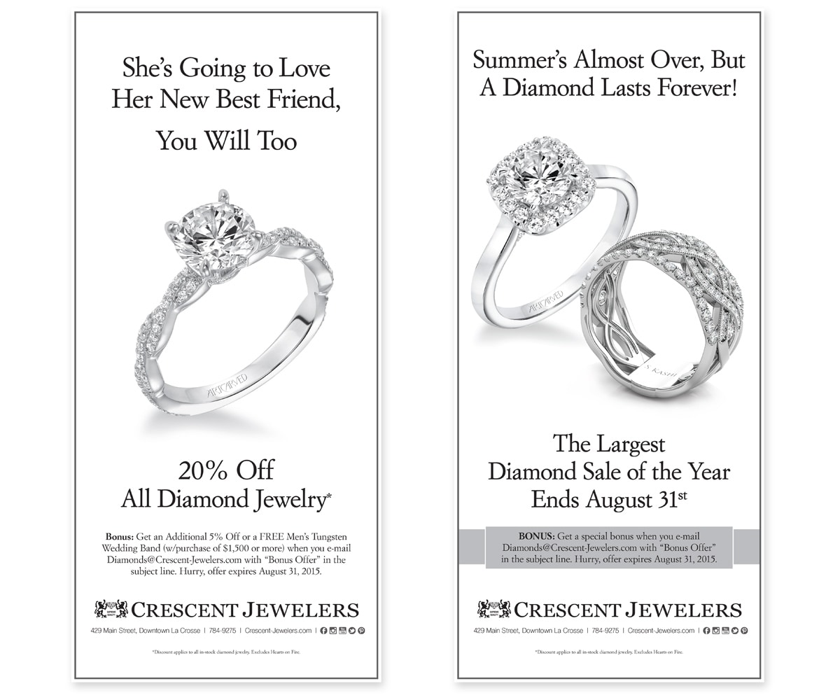 The BLÜ Group Client: Crescent Jewelers - Diamond Jewelry Sale - Full Page Newspaper Print Ad