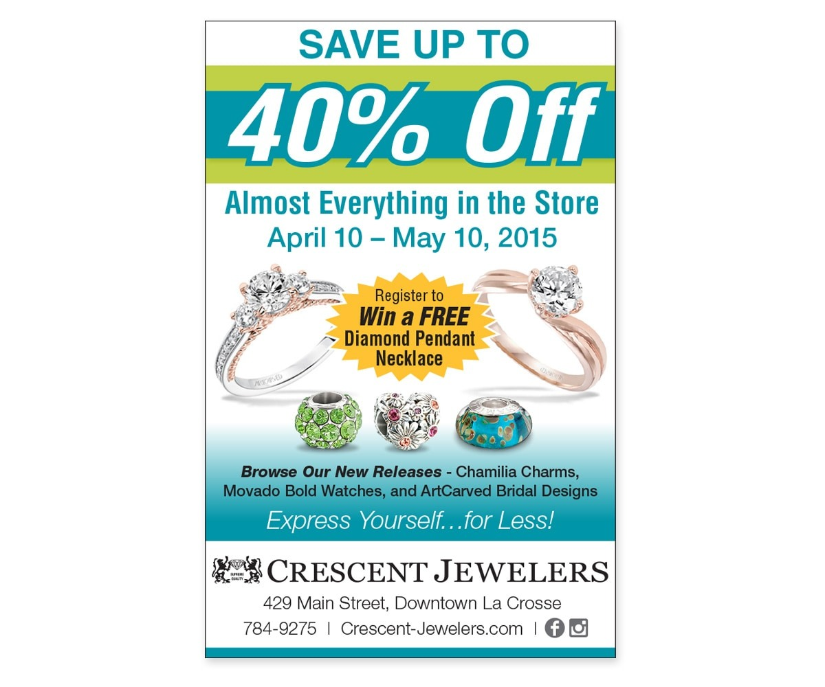 The BLÜ Group Client: Crescent Jewelers - Storewide Jewelry Sale - Print Ad