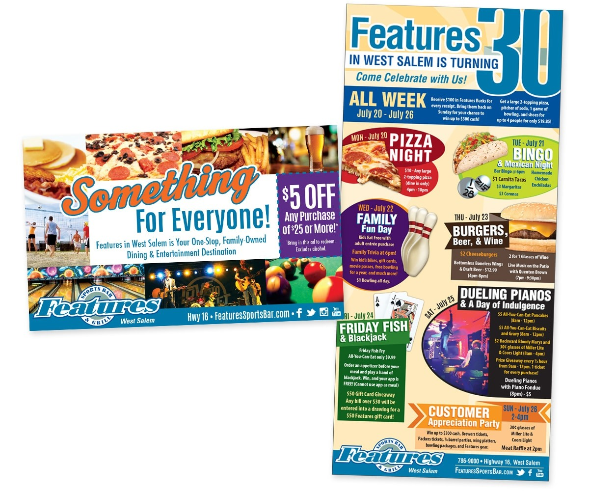"The BLÜ Group Client: Features Sports Bar & Grill in West Salem - Restaurant Anniversary Print Ad and ""Something for Everyone"" Coupon Print Ad"