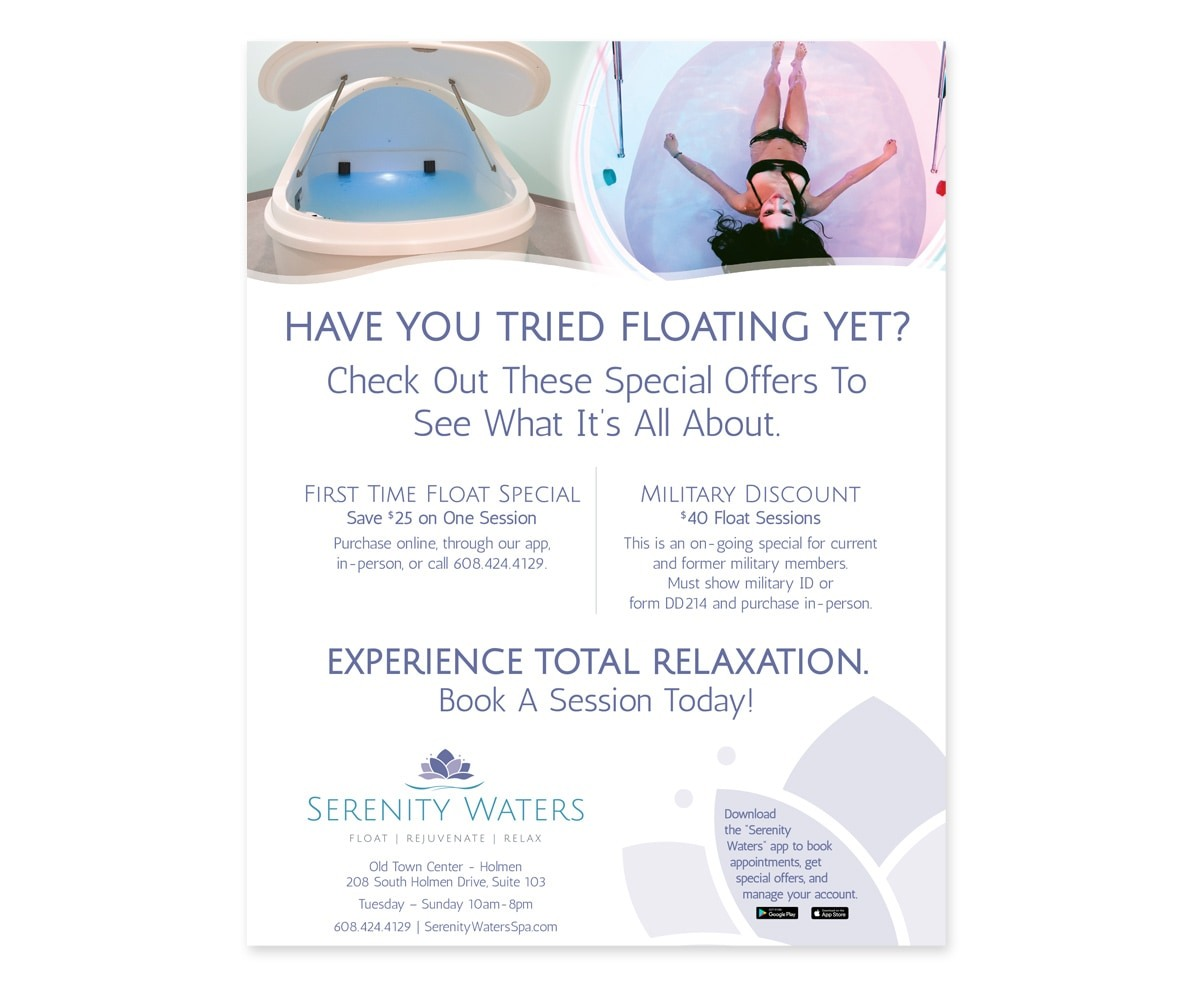 The BLÜ Group Client: Serenity Waters Spa - Floatation Therapy - Full-Page Print Ad