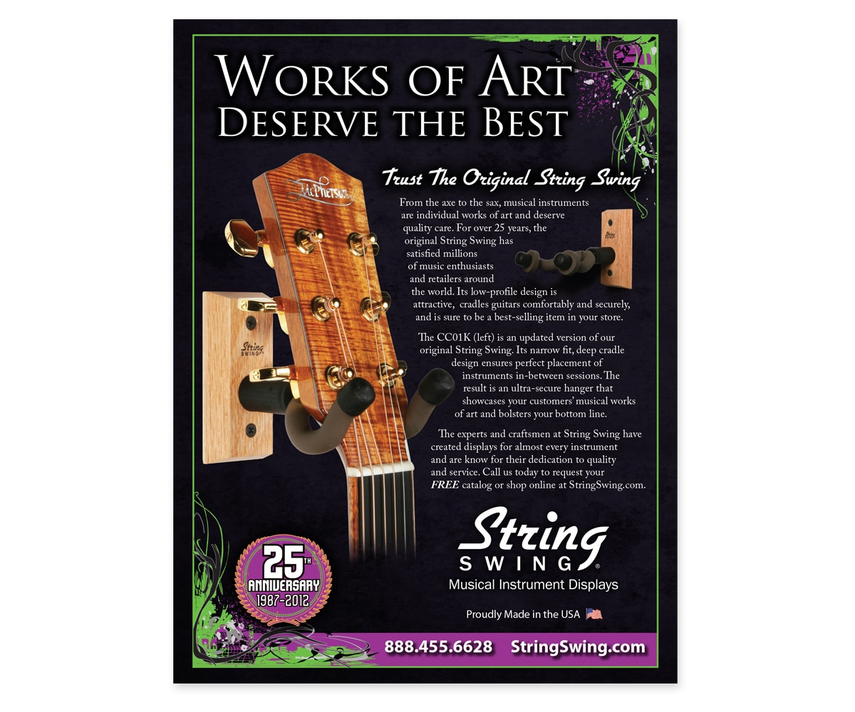 The BLÜ Group Client: String Swing - Musical Instrument Displays - Full-Page Print Ad