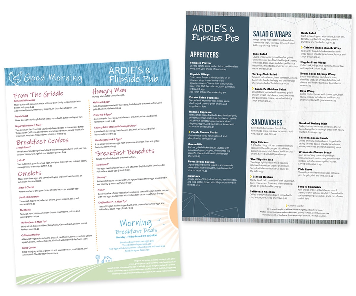 The BLÜ Group Client: Ardie's and Flipside Pub - Regular and Evening Menus
