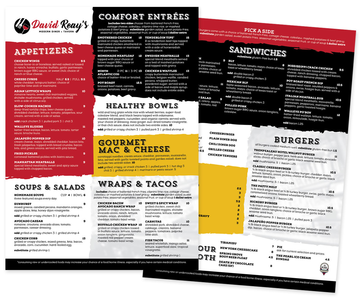 The BLÜ Group Client: David Reay's Modern Diner and Tavern - Menu