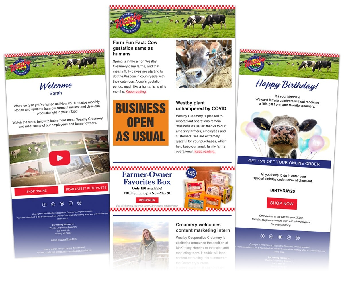 The BLÜ Group Client: Westby Cooperative Creamery - E-Promo, E-Newsletter, and E-Announcement Examples
