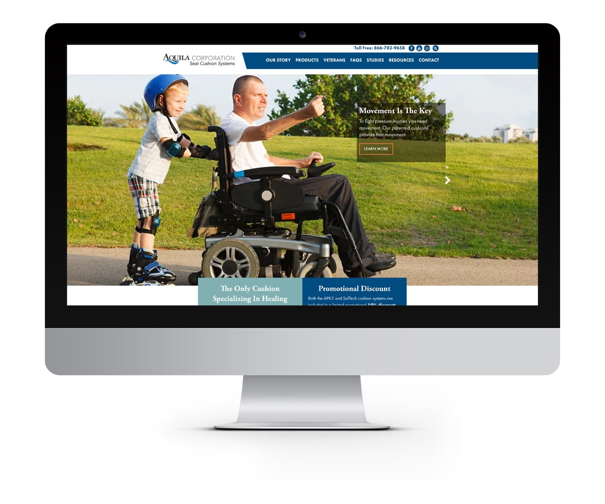 The BLÜ Group Client: Aquila Corporation - Wheelchair Seat Cushion Solutions - Website