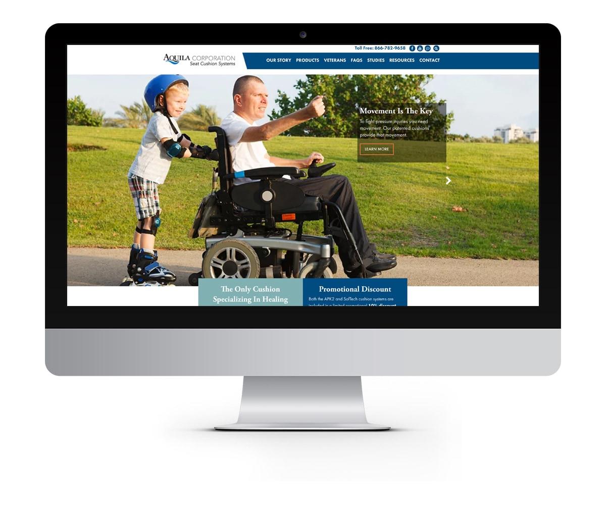 The BLÜ Group Client: Aquila Corporation - Wheelchair Seat Cushion Solutions - Website