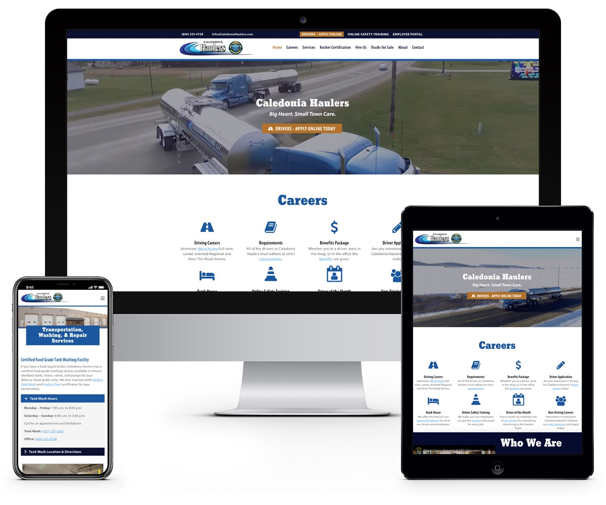 The BLÜ Group Client: Caledonia Haulers - Transportation Website