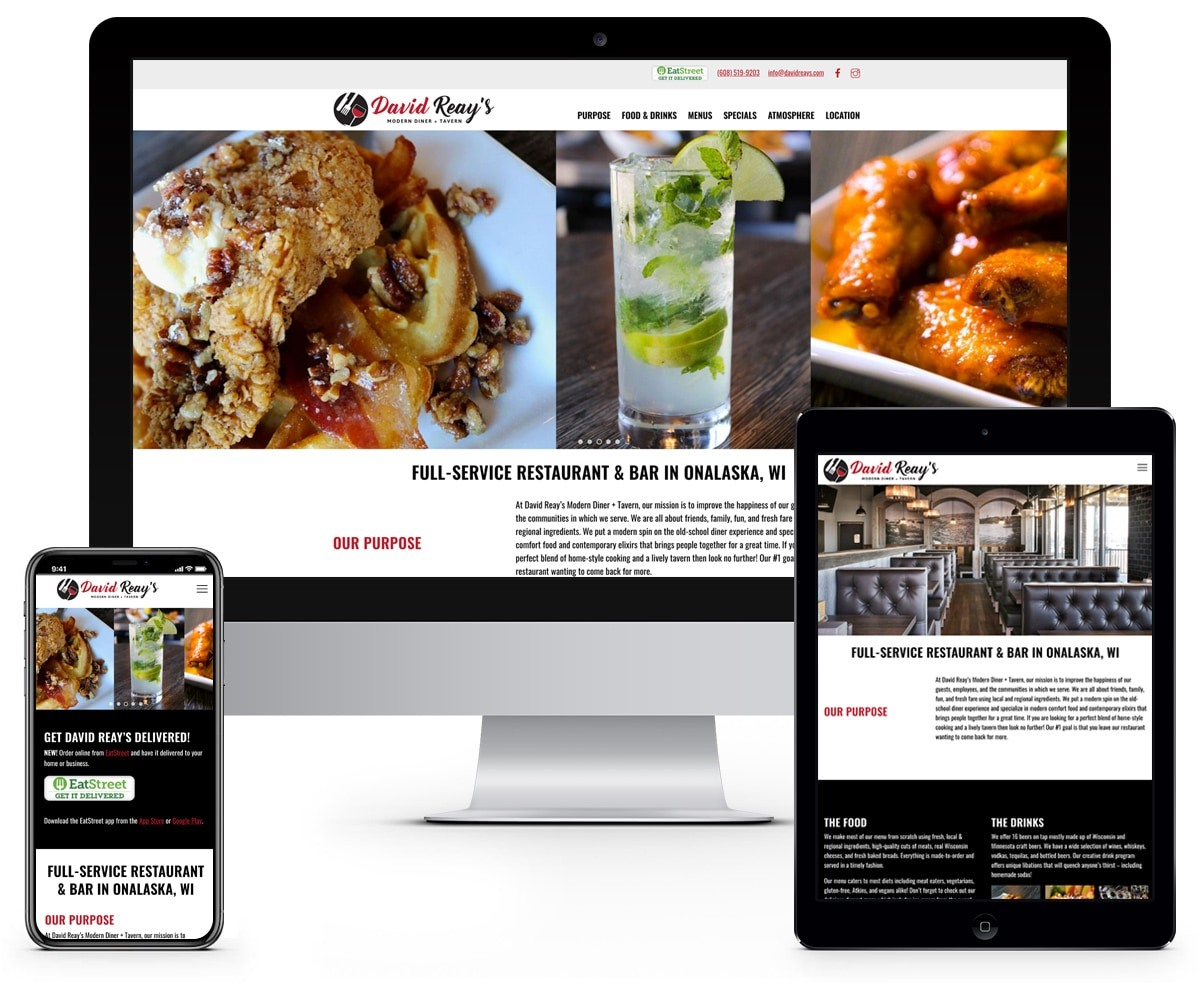 The BLÜ Group Client: David Reay's Modern Diner & Tavern - Restaurant Website