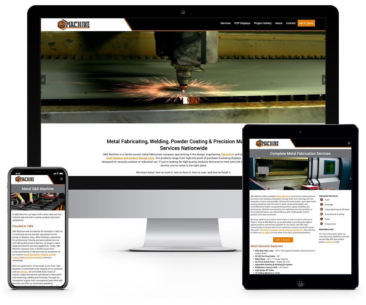 The BLÜ Group Client: G&S Machine - Metal Fabrication and Machining Website