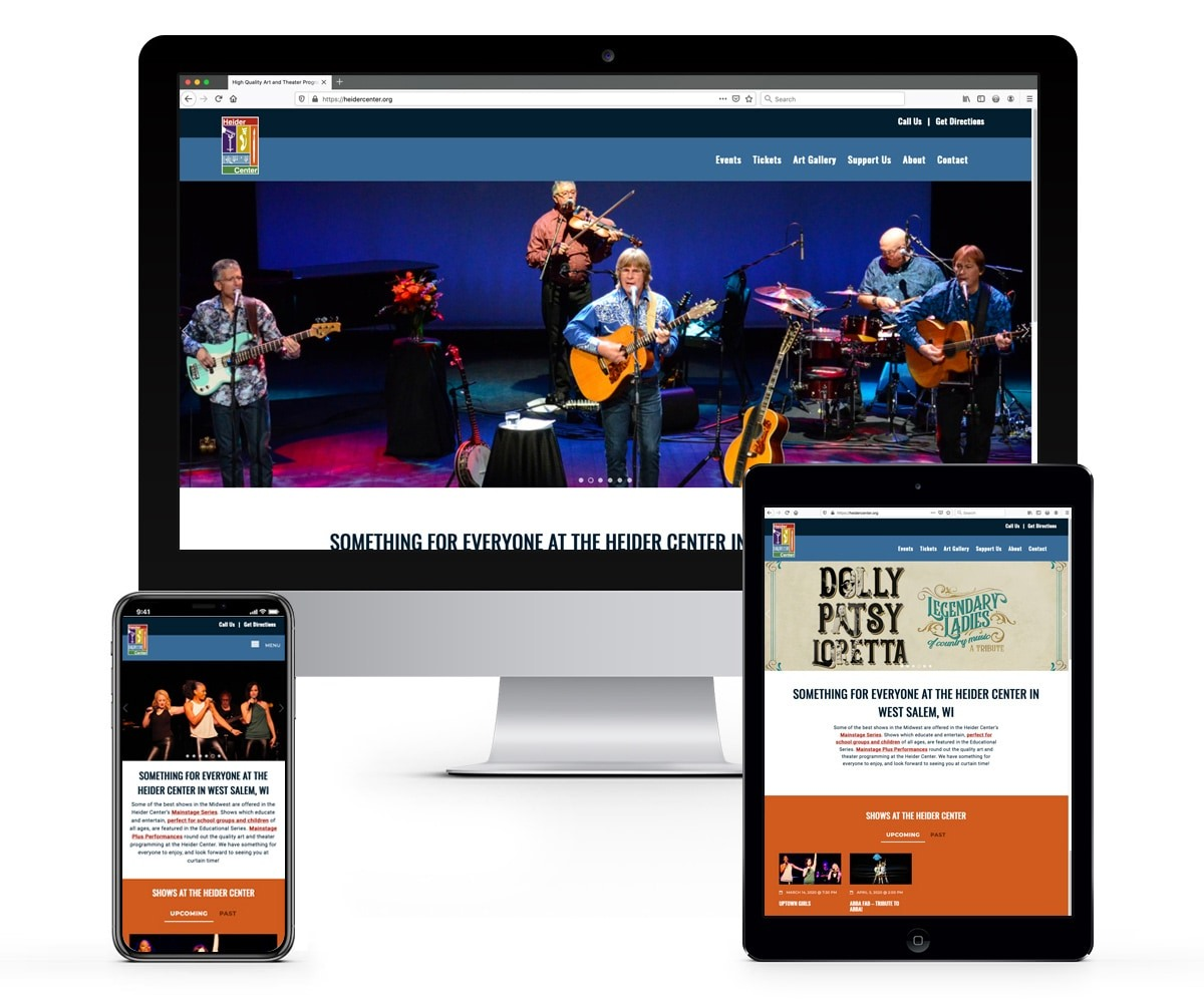 The BLÜ Group Client: Heider Center - Theater and Event Venue Website