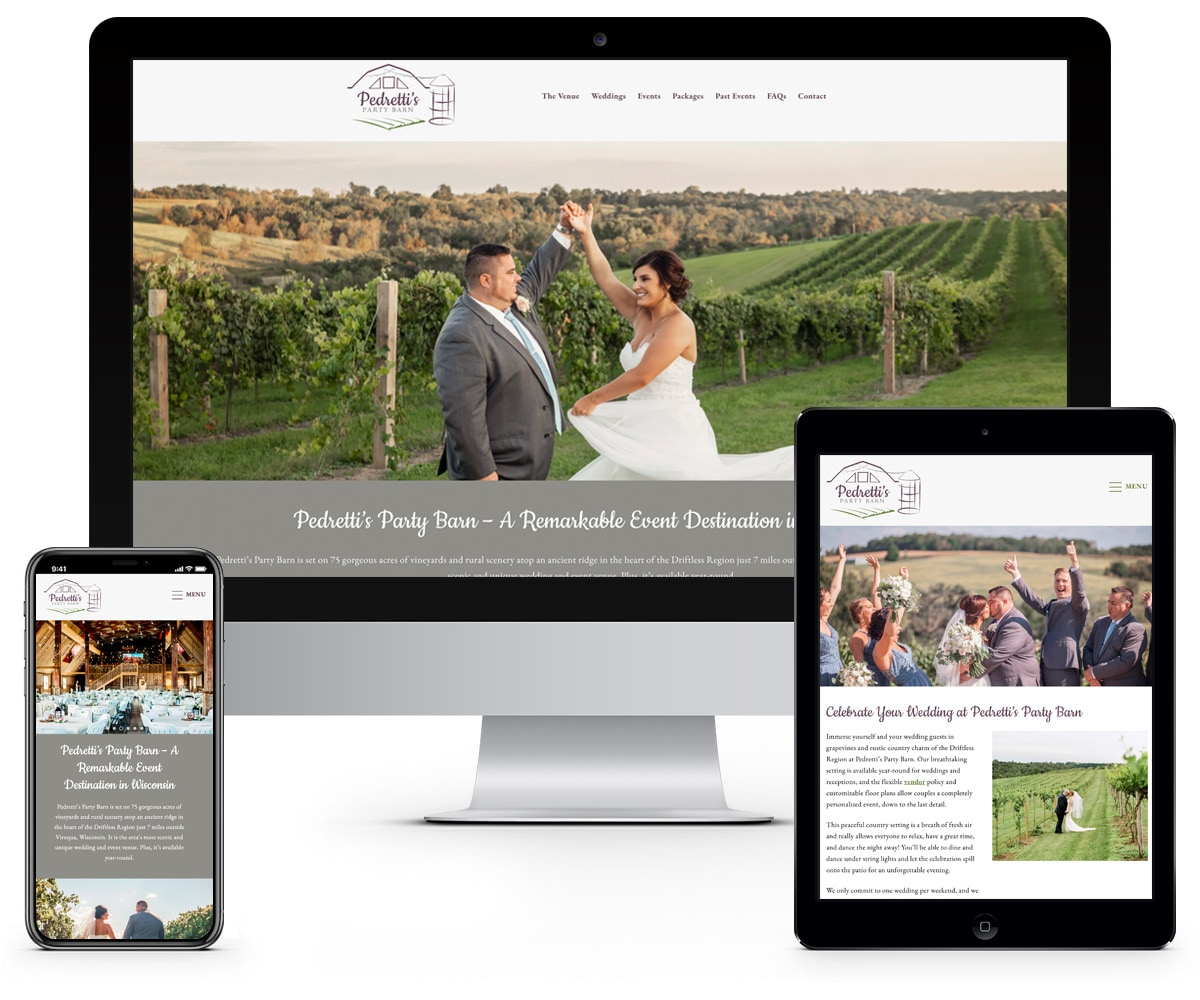 The BLÜ Group Client: Pedretti's Party Barn - Wedding and Event Venue Website