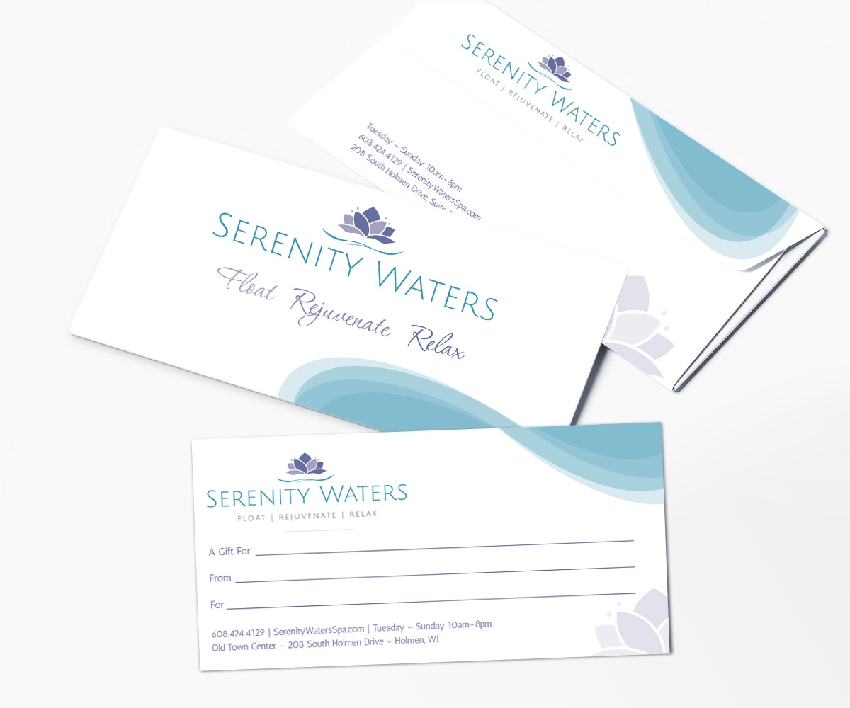 The BLÜ Group Client: Serenity Waters Spa - Gift Certificate with Envelope
