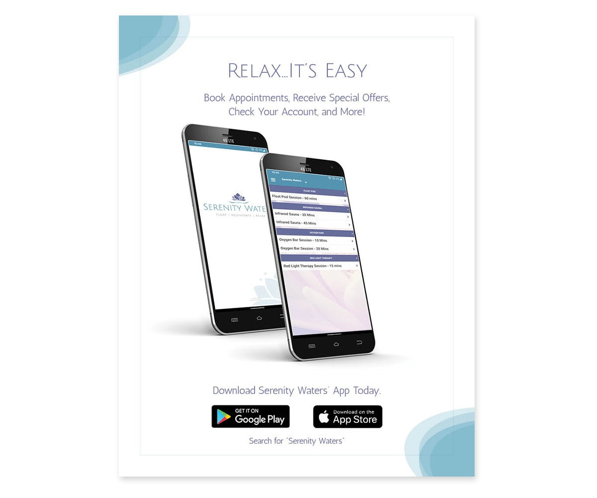 The BLÜ Group Client: Serenity Waters Spa - Mobile App Flyer