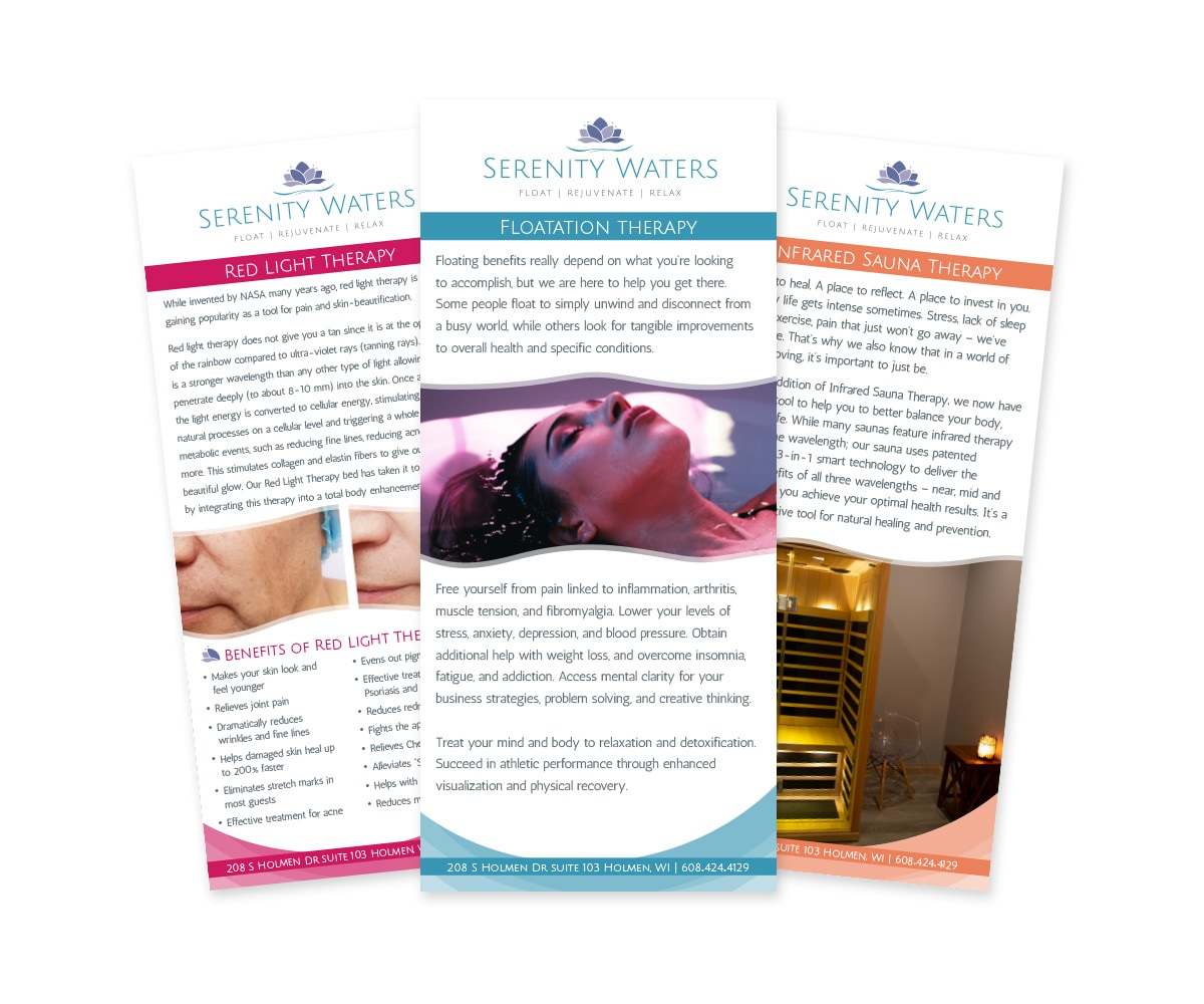 The BLÜ Group Client: Serenity Waters Spa - Red Light Therapy, Flotation Therapy, and Infrared Sauna Therapy Rack Cards