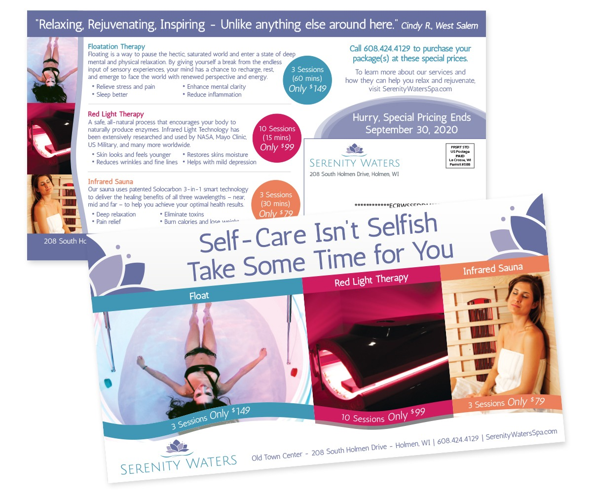 The BLÜ Group Client Work: Brilliant Bodywork - Serenity Waters Self Care Isn't Selfish Direct Mail