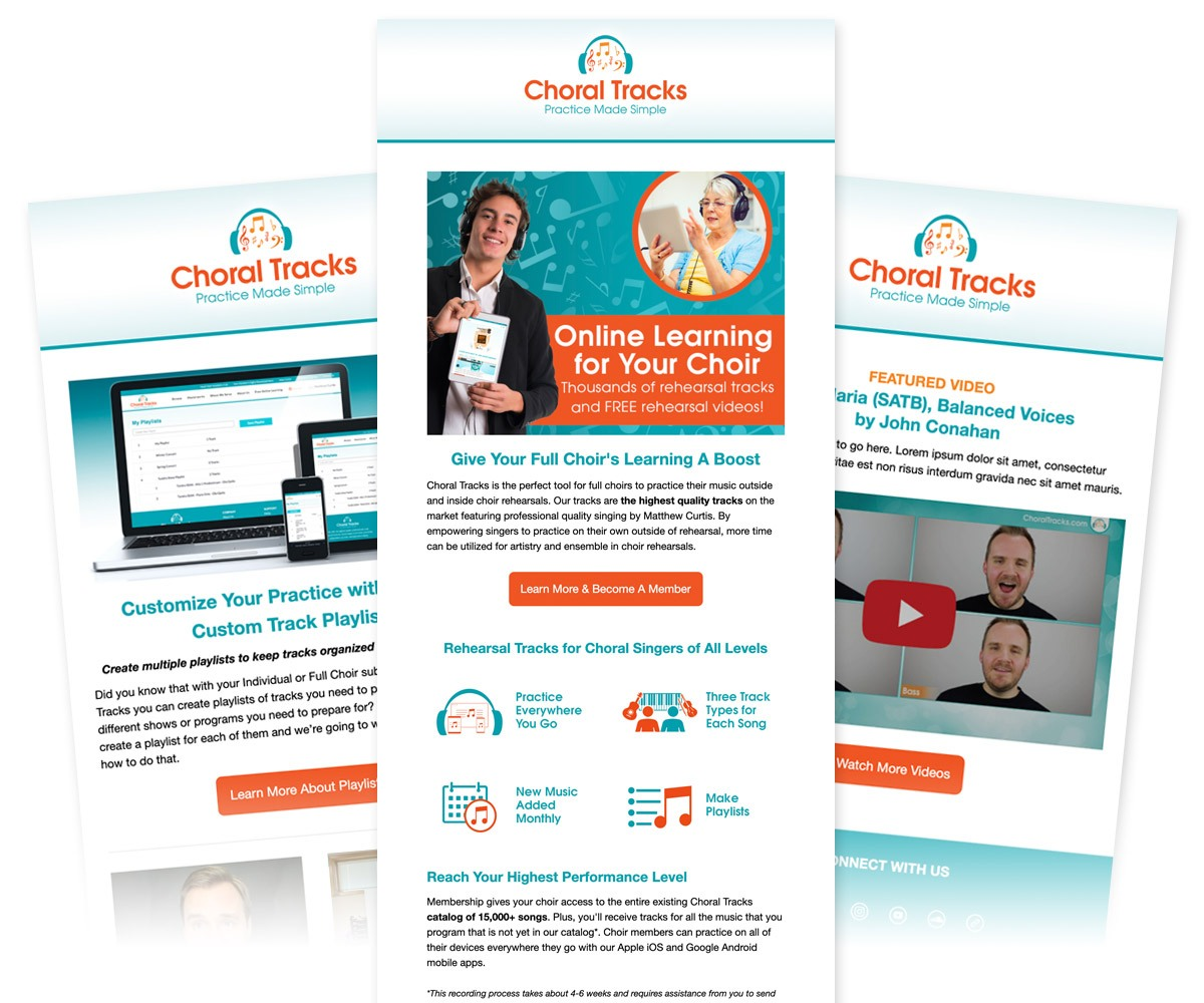 The BLÜ Group Client Work: Choral Tracks - E-newsletters and E-Announcments