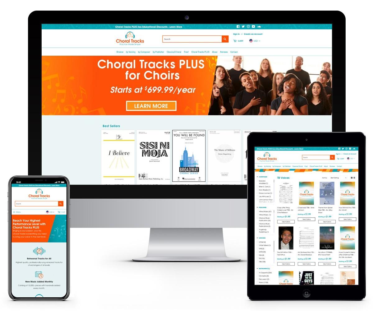 The BLÜ Group Client Work: Choral Tracks - Website Mockups on Desktop, Tablet, and Phone
