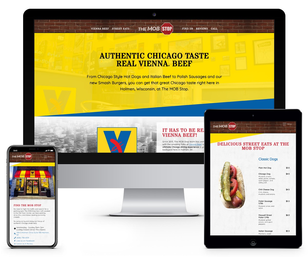The BLÜ Group Client Work: The MOB Stop - Website Mockups on Desktop, Tablet, and Phone