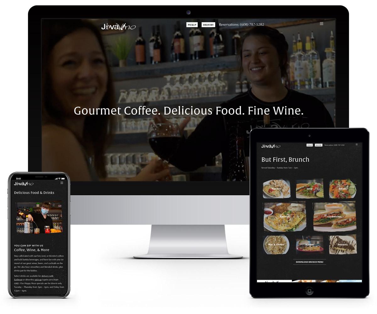 The BLÜ Group Client Work: JavaVino - Website Mockups on Desktop, Tablet, and Phone