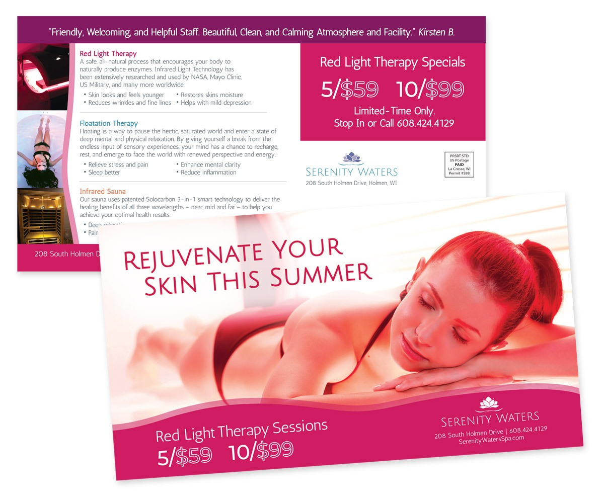 The BLÜ Group Client Work: Serenity Waters Rejuvenate Your Skin This Summer With Red Light Therapy Direct Mail