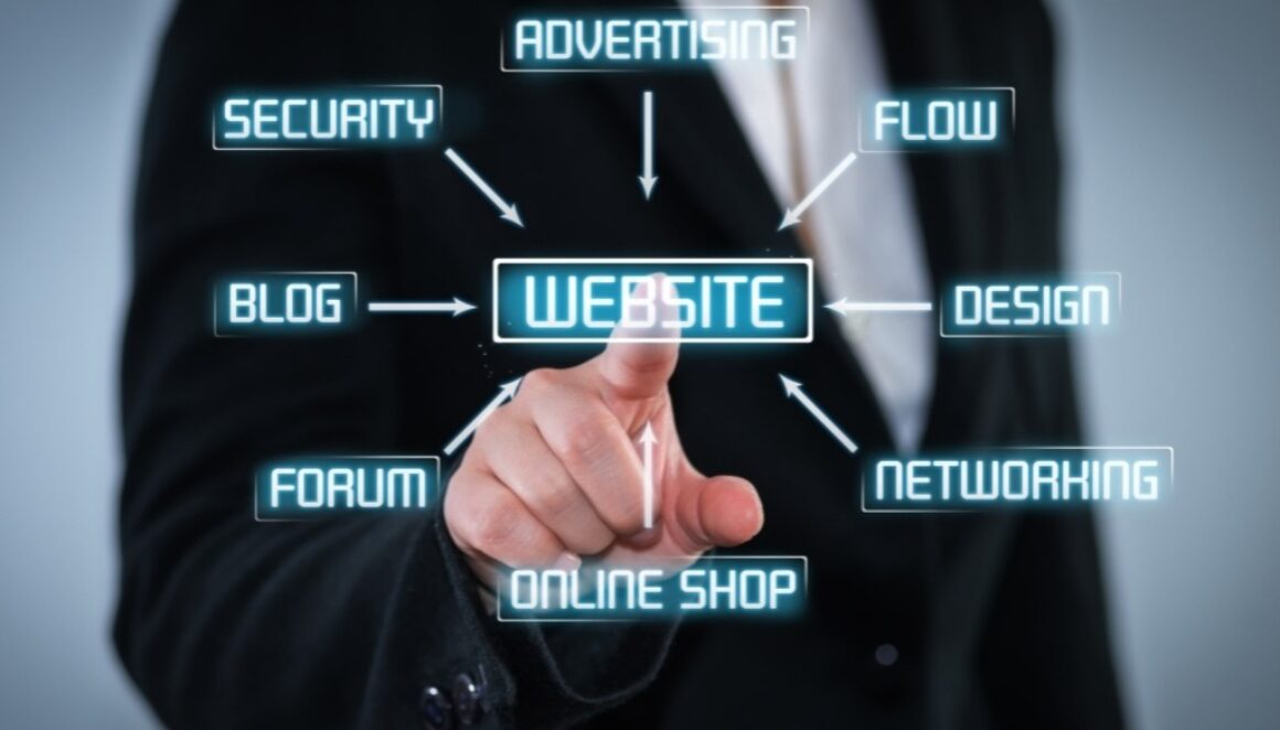 Website navigation words being projected and hand pointing at the word website.,
